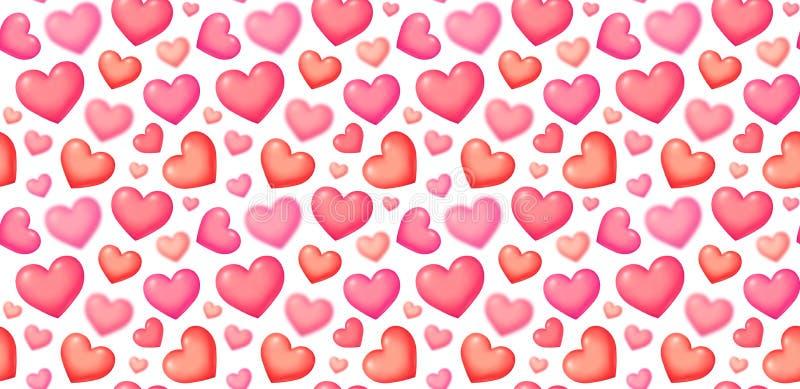 Corações do rosa do vetor do estilo da bolha 3D na telha sem emenda branca do teste padrão do dia de Valentim do fundo ilustração royalty free