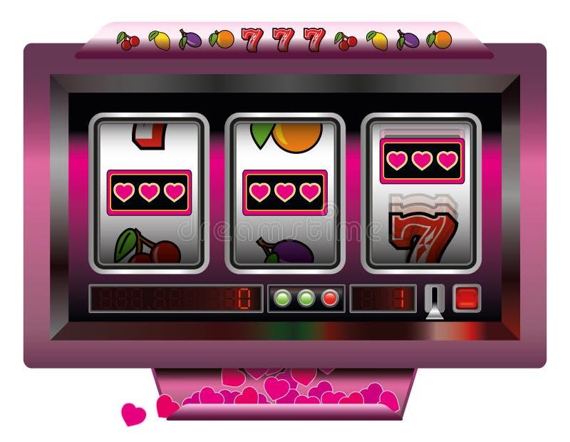 Corações do slot machine ilustração do vetor