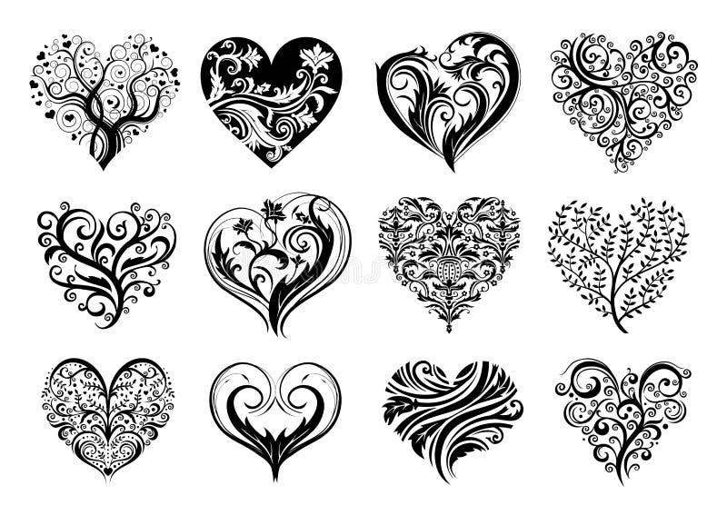 Corações do tatuagem ilustração stock