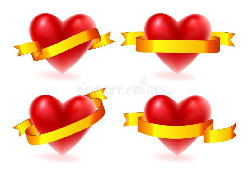 Corações do Valentim com fita do ouro ilustração royalty free