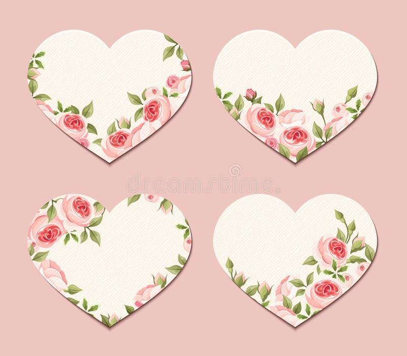 Corações do Valentim com rosas cor-de-rosa Vetor EPS-10 ilustração stock