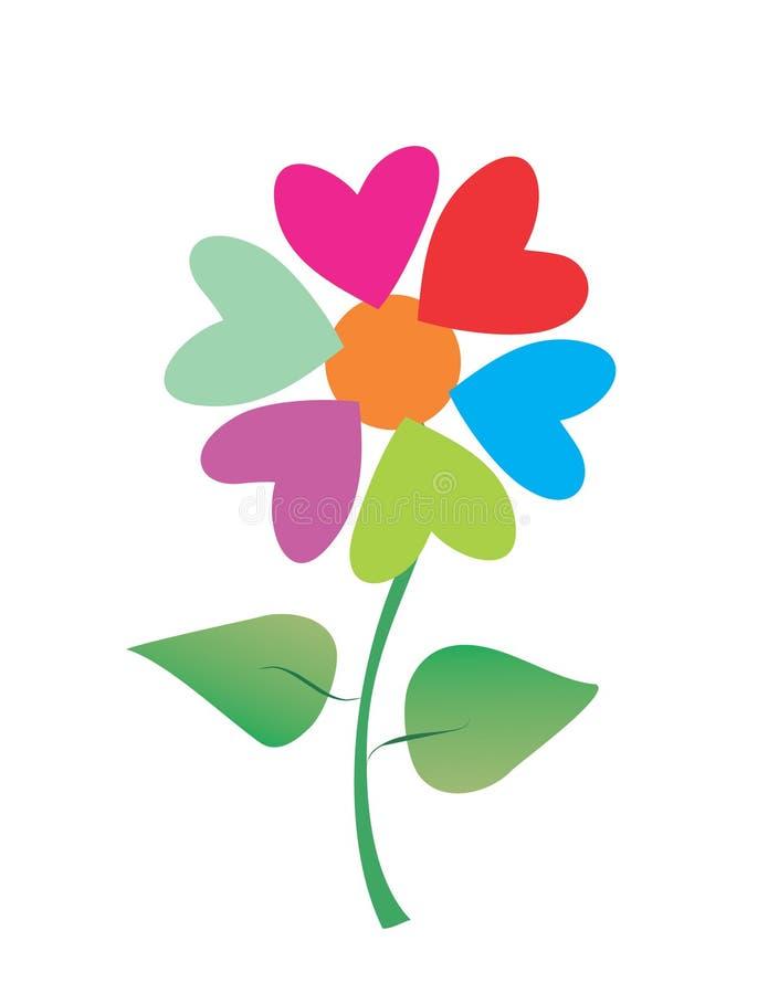 Corações do Valentim como a flor ilustração do vetor