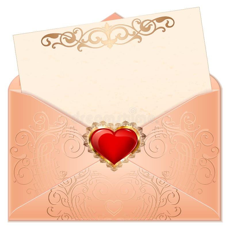 Corações do Valentim do cumprimento em um envelope O coração vermelho e cor-de-rosa romântico com ornamento rotula a ilustração ilustração stock