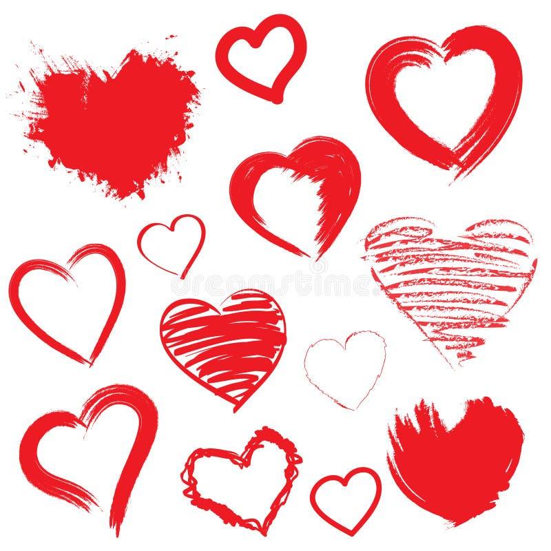 Corações do vetor ajustados. Mão tirada. ilustração stock