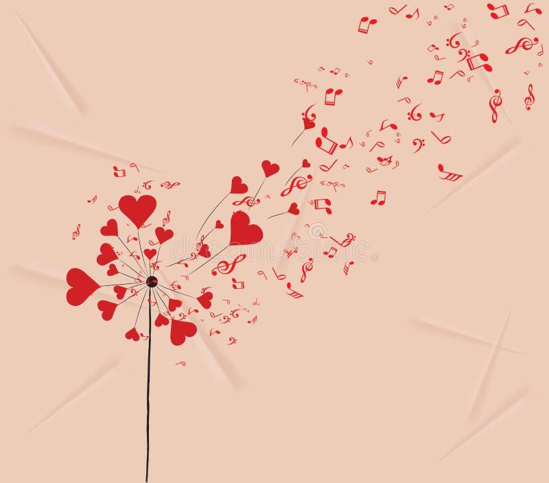 Corações dos dentes-de-leão e fundo romântico dos Valentim da música ilustração royalty free