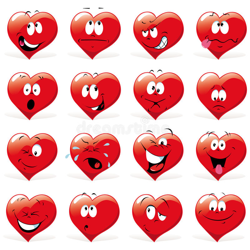 Corações dos desenhos animados ilustração do vetor
