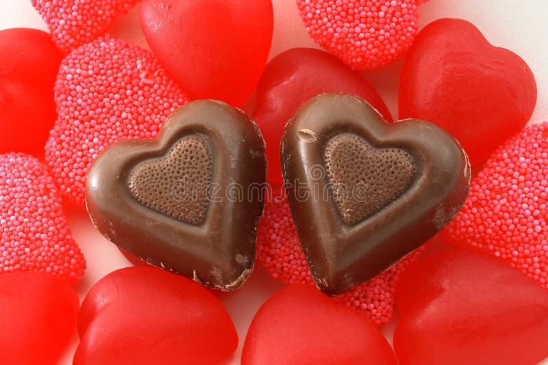Corações dos doces e do chocolate foto de stock
