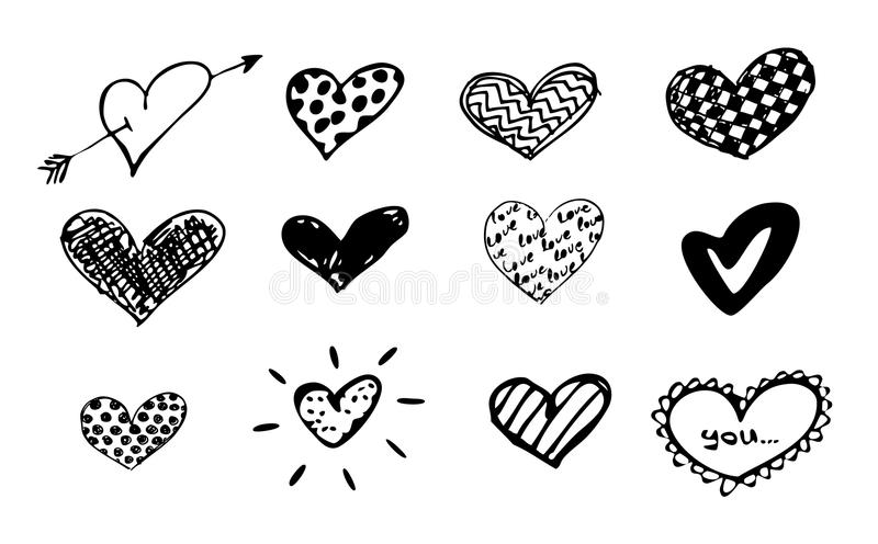 Corações dos Doodles ajustados/vetor ilustração stock