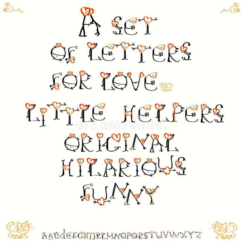 Corações dos povos font Desenhista Set Desenho Handmade Vetor Dia do Valentim s Amor Feriado feliz ilustração do vetor
