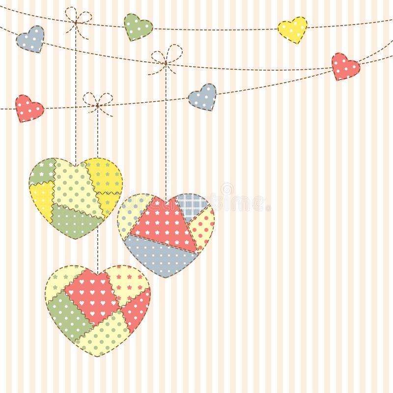 Corações dos retalhos ilustração stock