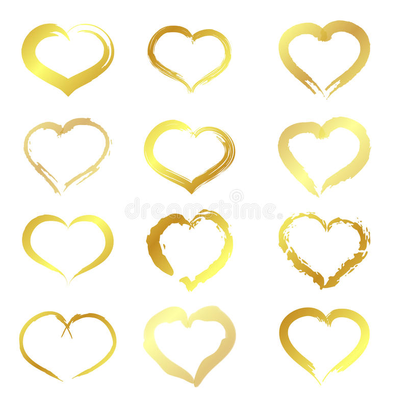 Corações dourados ilustração stock