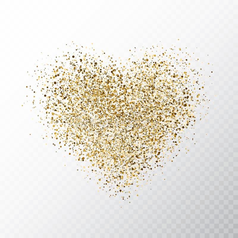 Corações dourados do brilho isolados no fundo transparente Bandeira de incandescência do coração do ouro com partículas mágicas d ilustração do vetor