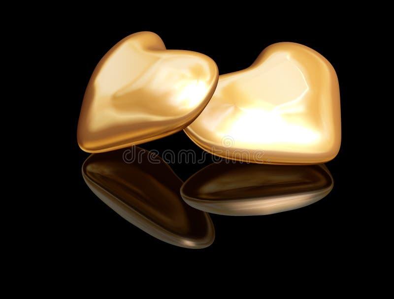 Corações dourados do Valentim ilustração stock
