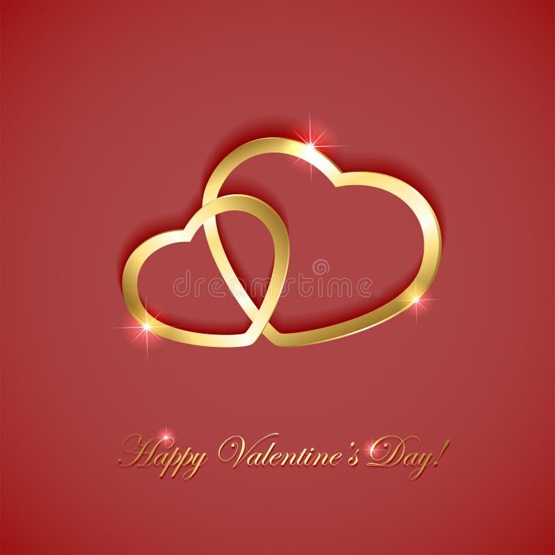 Corações dourados no fundo cor-de-rosa ilustração royalty free