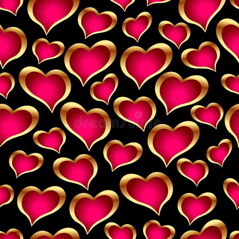 Corações dourados sem emenda fotografia de stock royalty free