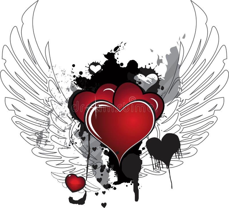 Corações e asas ilustração do vetor
