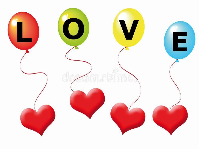 Corações e balões ilustração do vetor
