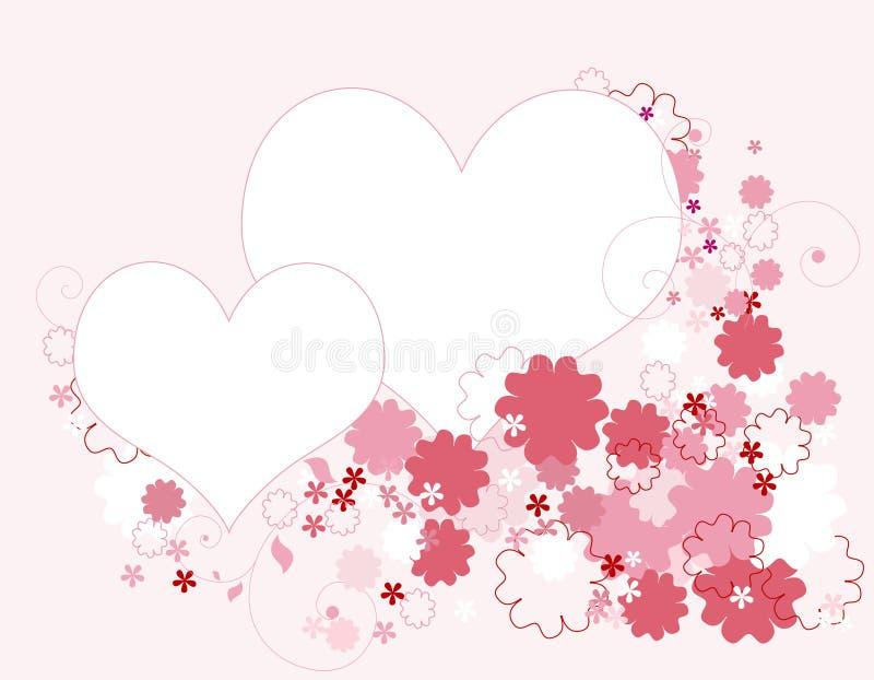Corações e beira floral ilustração royalty free