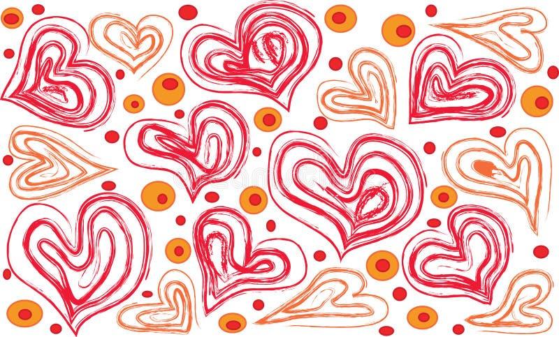 Corações e círculos rasos em um fundo branco ilustração stock