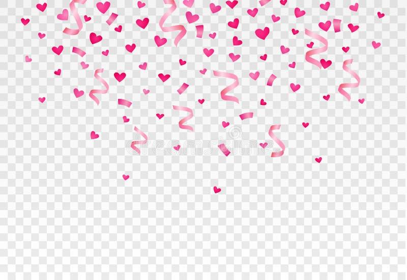 Corações e confetes de queda no fundo transparente Vetor eps10 ilustração royalty free