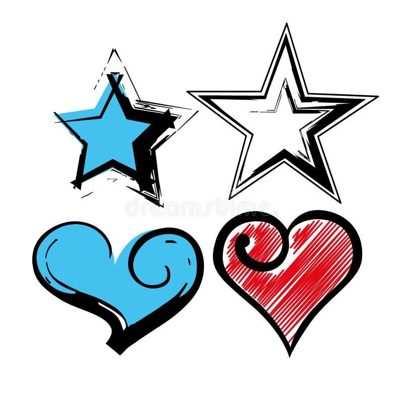 Corações e estrelas do Grunge imagens de stock royalty free