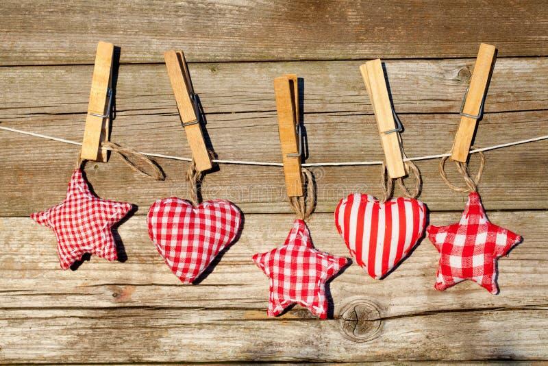 Corações e estrelas Handmade fotos de stock