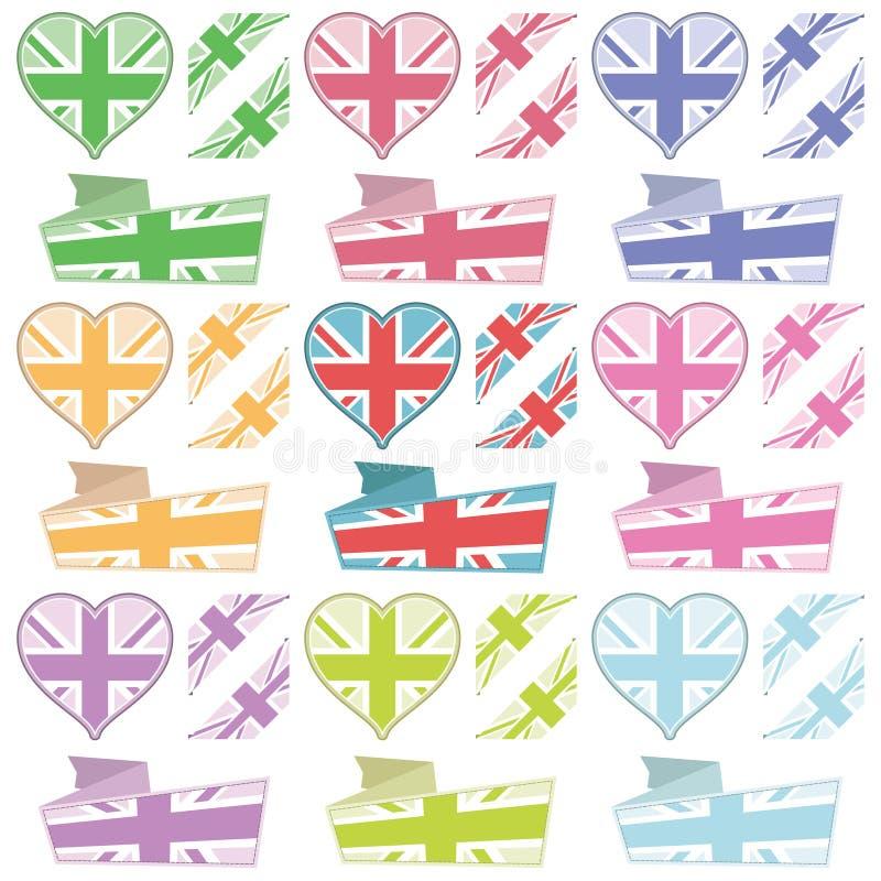 Corações e fitas britânicos ilustração royalty free