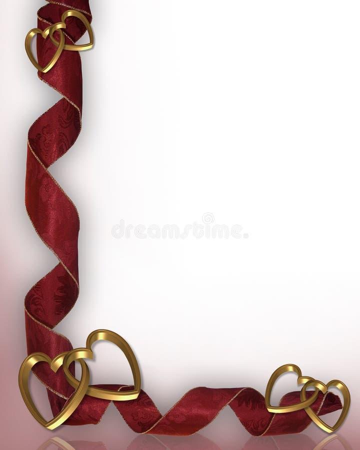 Corações e fitas do Valentim ilustração royalty free