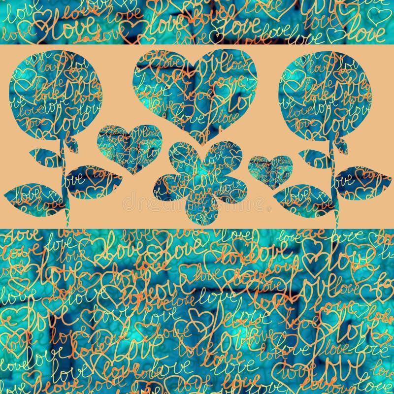 Corações e flores abstratos da colagem em um fundo da cor ilustração stock