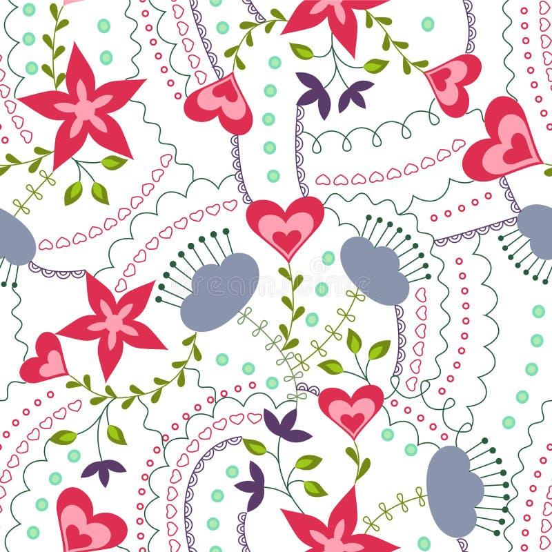 Corações e flores coloridos no branco ilustração royalty free