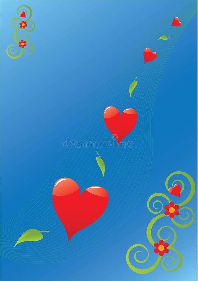 corações e folhas ilustração do vetor