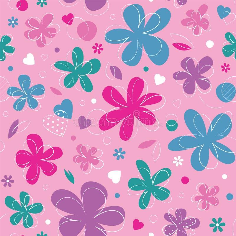 Corações e fundo coloridos das flores ilustração do vetor