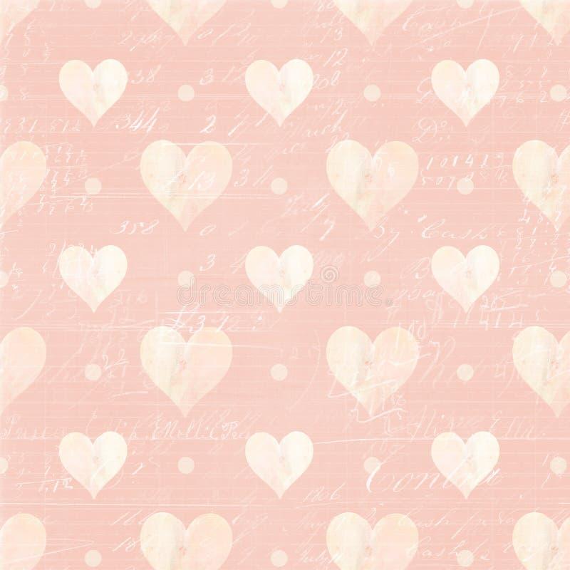 Corações e fundo cor-de-rosa e brancos do roteiro ilustração royalty free
