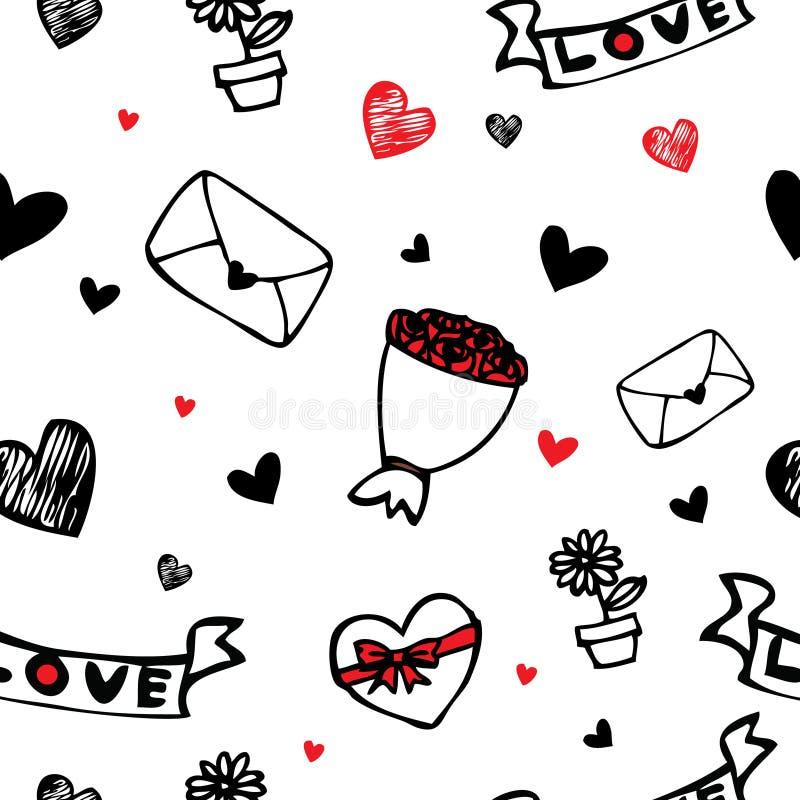 Corações e fundo sem emenda dos desenhos animados do símbolo da flor ilustração do vetor