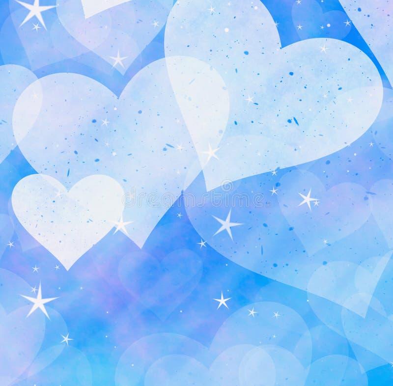 Corações e fundos claros sonhadores das estrelas ilustração stock