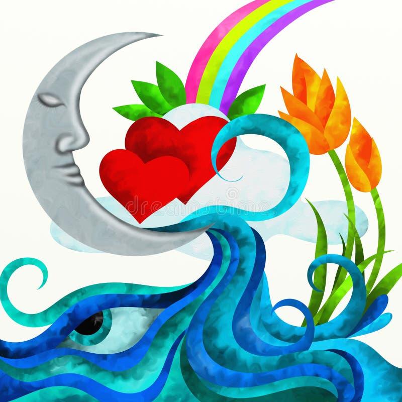 Corações e lua vermelhos ilustração royalty free