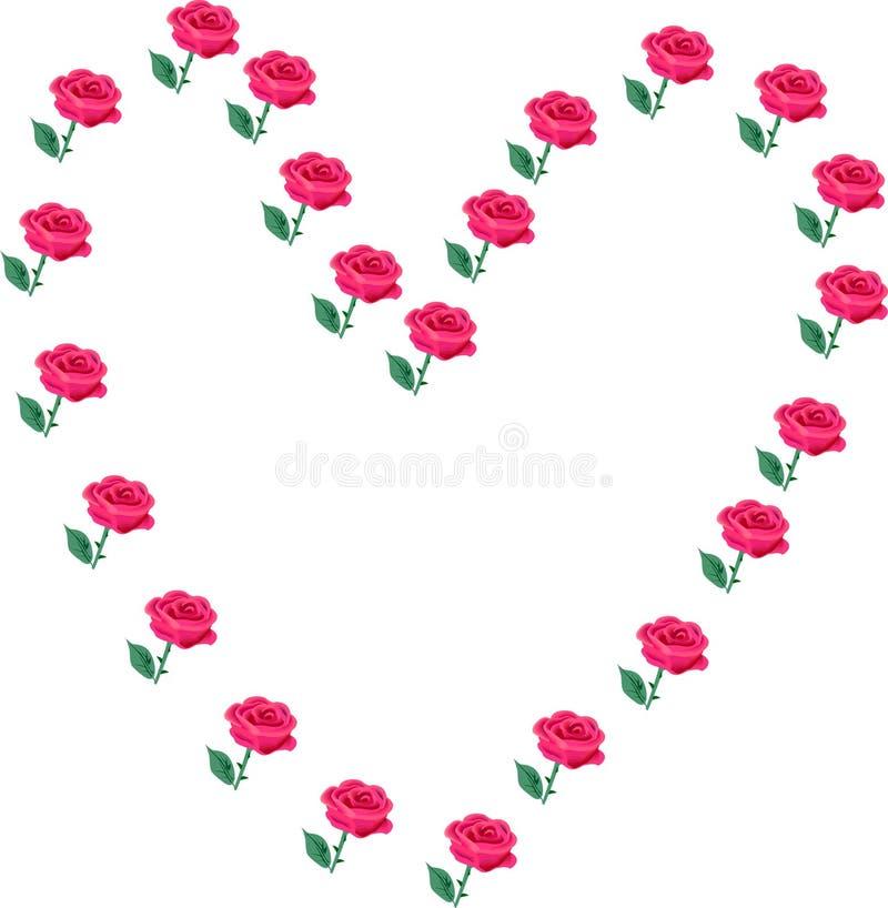 Corações e rosas ilustração do vetor