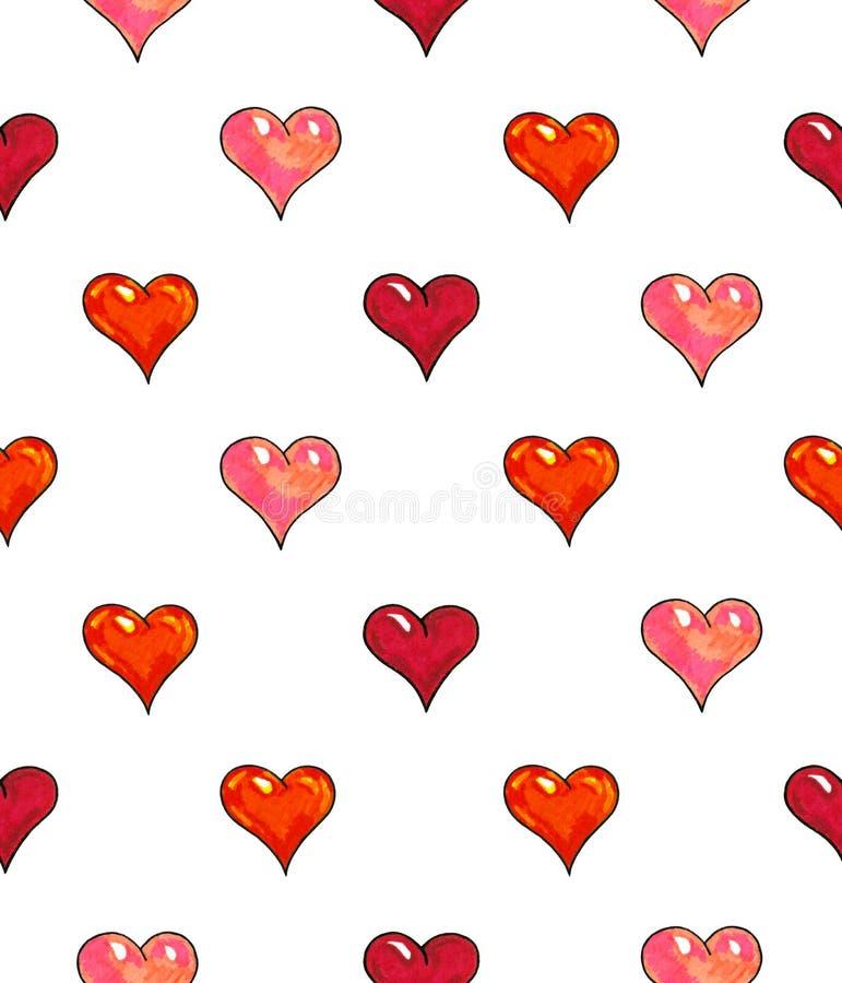 Corações em um fundo branco Teste padrão sem emenda para o projeto Ilustrações da animação Handwork fotografia de stock royalty free