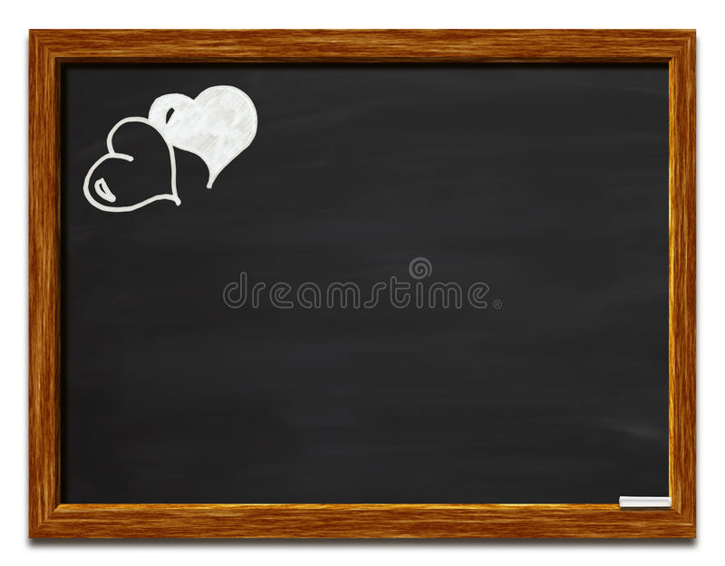 Corações em um quadro-negro imagens de stock royalty free