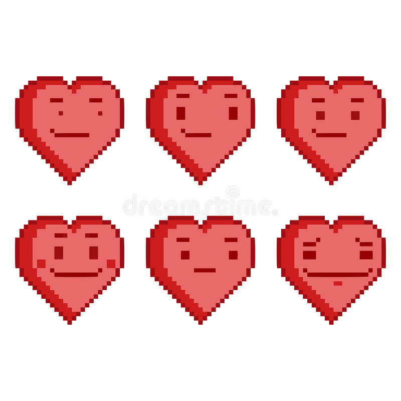 Corações engraçados ajustados do pixel ilustração do vetor