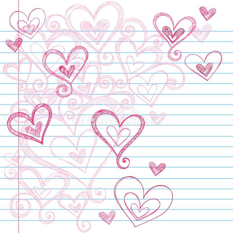 Corações esboçado do Doodle do caderno ilustração royalty free