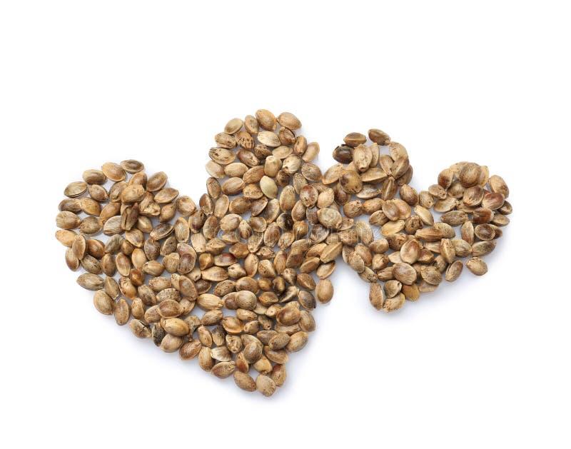 Corações feitos de sementes de cânhamo foto de stock