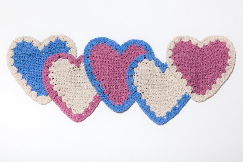 Corações feitos malha Crochet fotografia de stock