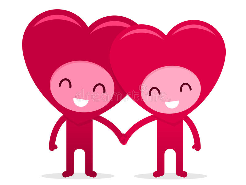 Corações felizes amigáveis que prendem as mãos ilustração do vetor