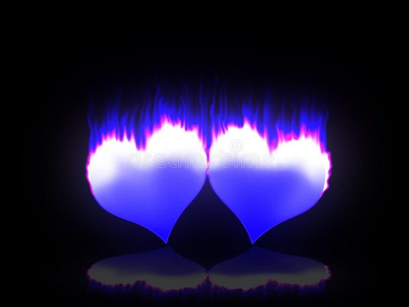 Corações flamejantes ilustração stock