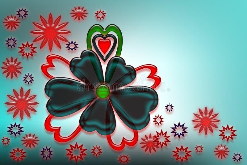 Corações, flores e estrelas estilizados ilustração do vetor