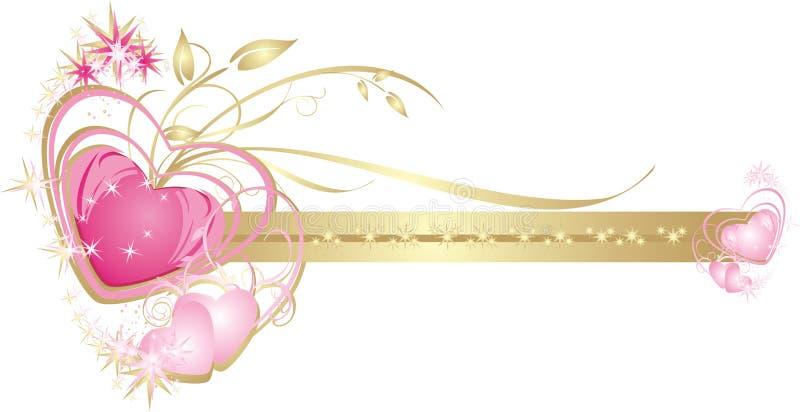Corações. Frame decorativo para o cartão de casamento imagens de stock royalty free