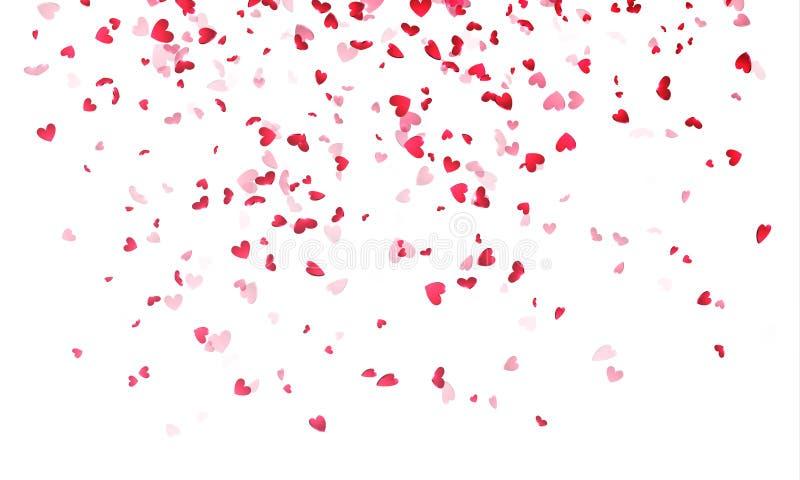 Corações fundo, confete cor-de-rosa de queda do coração de Valentine Day ilustração do vetor