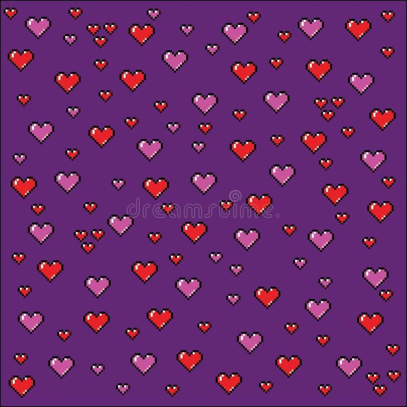 Corações fundo da arte do pixel, ilustração do estilo do jogo de vídeo ilustração royalty free