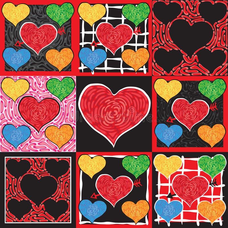 Corações Funky do Valentim ilustração do vetor